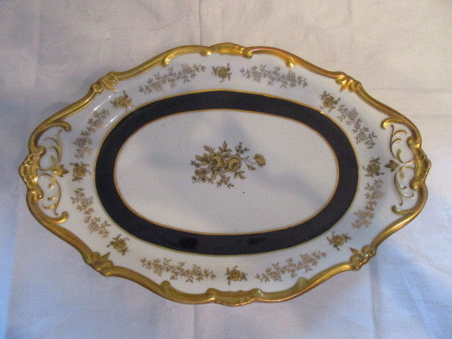 Weimar Echt Kobalt ovale Platte Servierplatte Katharina 7722 Barock Gold Rose