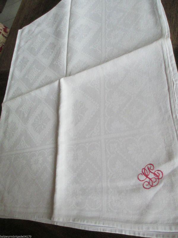 Schöne alte Tischdecke Tafeltuch Halbleinen Baumwolle mit tollem Monogramm