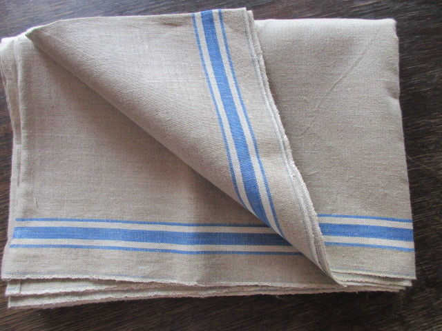 Altes Leinen Rolltuch Mangeltuch blaue Streifen unbenutzt 250 x 90 cm