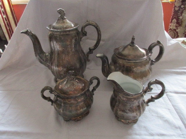 WMF Silberporzellan Kaffeekanne Teekanne Sahnekännchen Zuckerdose Art Deco