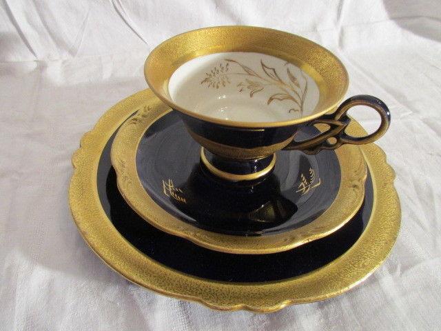 Hertel Jacob ? i. L. Roth handgemalt Kobalt Gold alte Sammeltasse Sammelgedeck