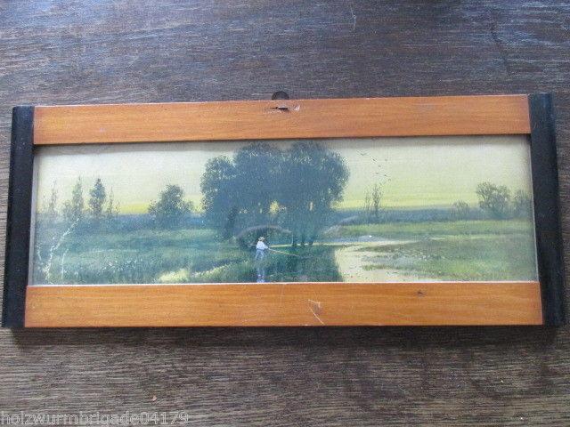 Alter Biedermeier Bilderrahmen mit Glas Druck Angler 39 x 16 cm