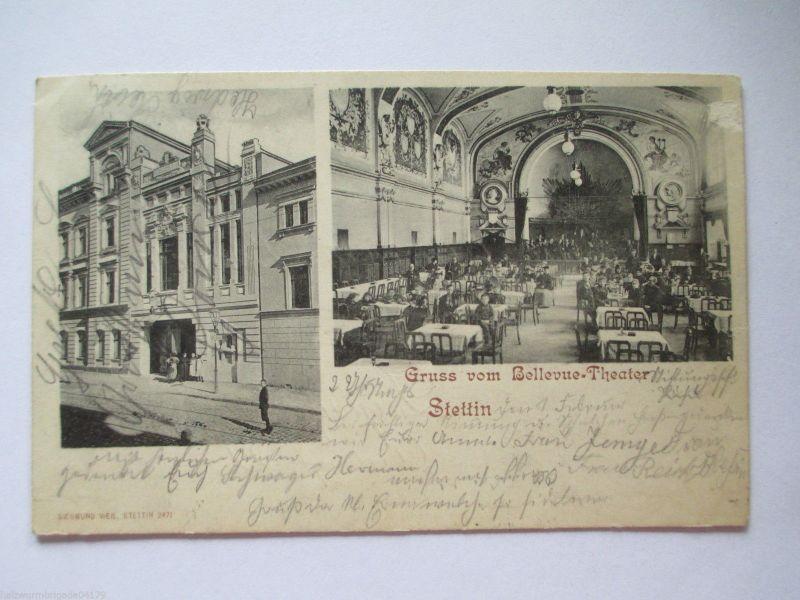 Seltene alte AK Stettin Pommern Gruss vom Bellevue Theater gelaufen 1902