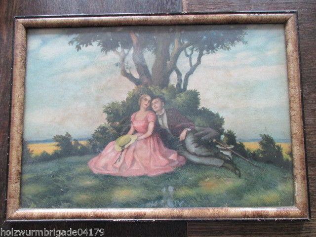Alter Biedermeier Bilderrahmen mit Glas Druck eines Pärchens 36 x 25,5 cm (2 )