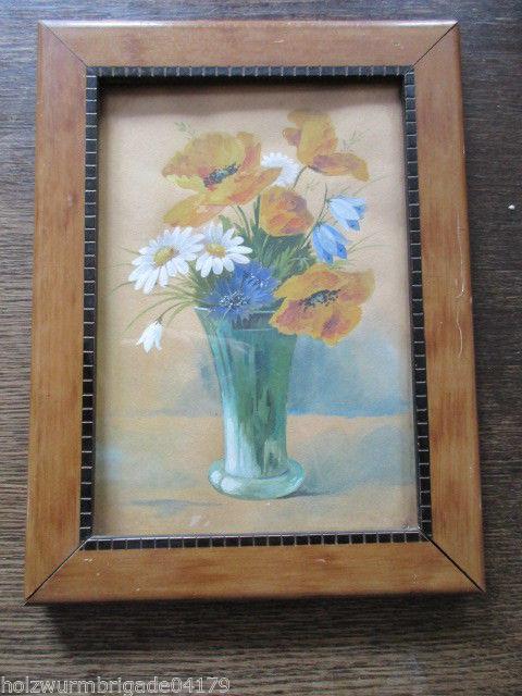 Alter Biedermeier Bilderrahmen mit Glas Aquarell Sonnengold nach Hellgrewe
