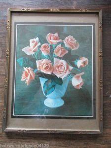 Alter Jugendstil Holz Gips Bilderrahmen mit Glas Druck Blumen