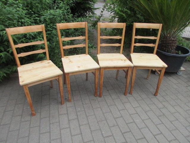 Vier alte Stühle Jugendstil um 1900 Holz Ahorn