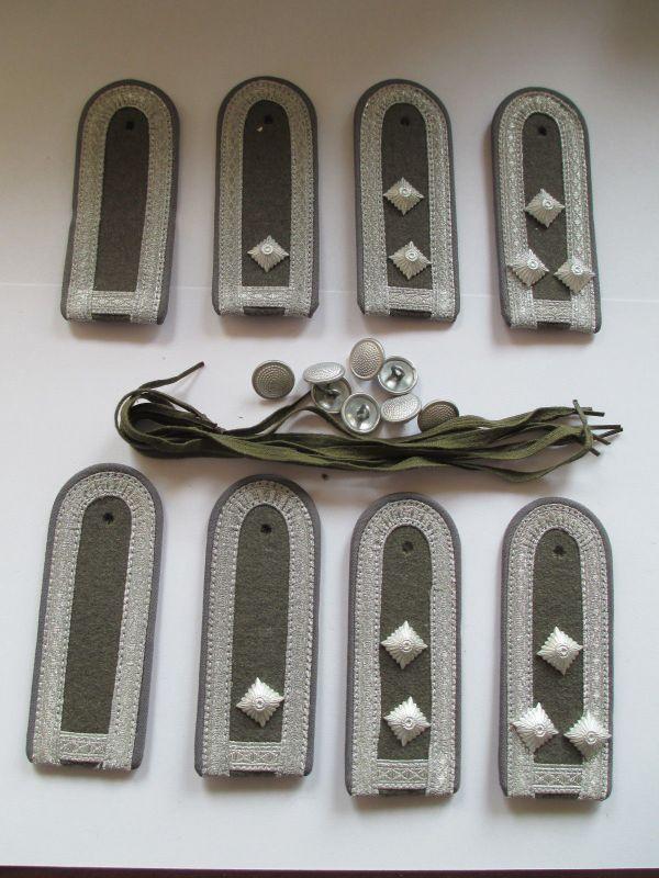 NVA  4 paar Schulterstücke Ufw-Stfw  Luftverteidigung  grau