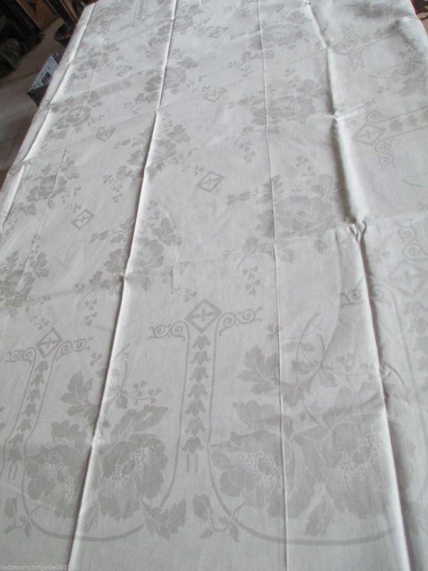 Sehr schöne alte Tischdecke Tafeltuch Leinen Halbleinen Jugendstil  160 x 130 cm
