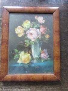 Alter Biedermeier Bilderrahmen mit Glas Blumenstrauß gemalt Öl ?? 28 x 22 cm