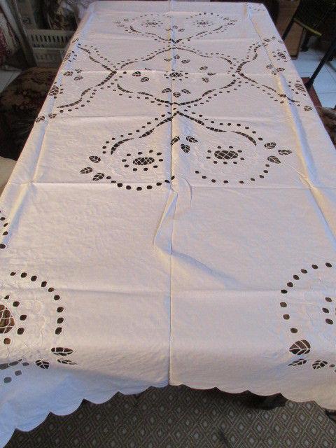 Herrliche alte XL Leinen Tischdecke Tischtuch Richelieu Stickerei 230 x 140 cm