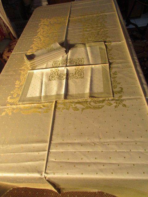 Herrliches altes Jugendstil XL Tischtuch Tafeltuch Leinen Damast + 6 Servietten 10