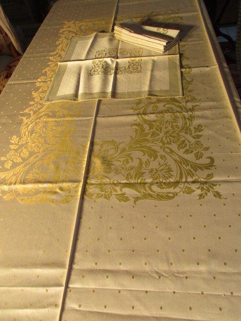 Herrliches altes Jugendstil XL Tischtuch Tafeltuch Leinen Damast + 6 Servietten 11