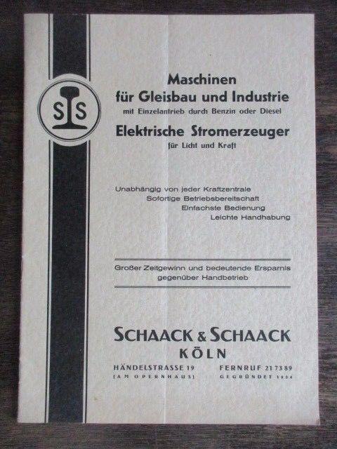 SCHAACK & SCHAACK KÖLN Eisenbahn Industriebedarf Katalog 40 Jahre