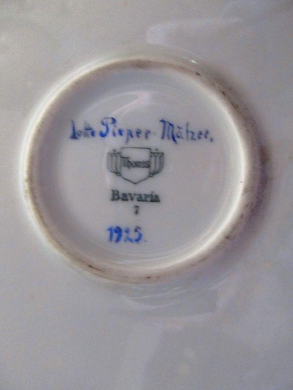 Thomas Porzellan großer Teller Blumen sig. Lotte Pieper Mälzer 1925 Ø 32,5 1