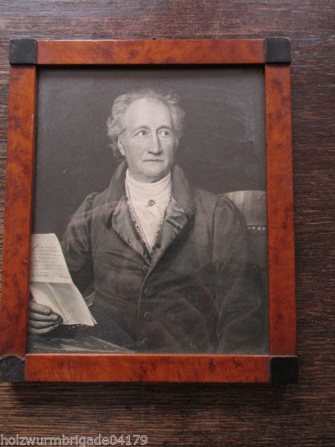 Alter Biedermeier Bilderrahmen mit Glas Motiv Brief an Goethe Druck 17 x 14,5 cm