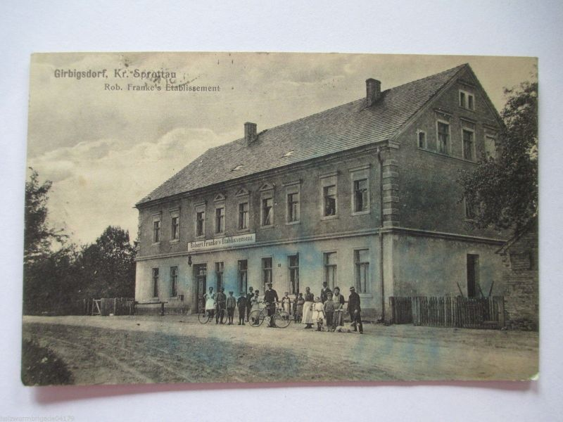 Seltene alte AK Girbigsdorf Sprottau Schlesien Franke`s Etablissement 1923