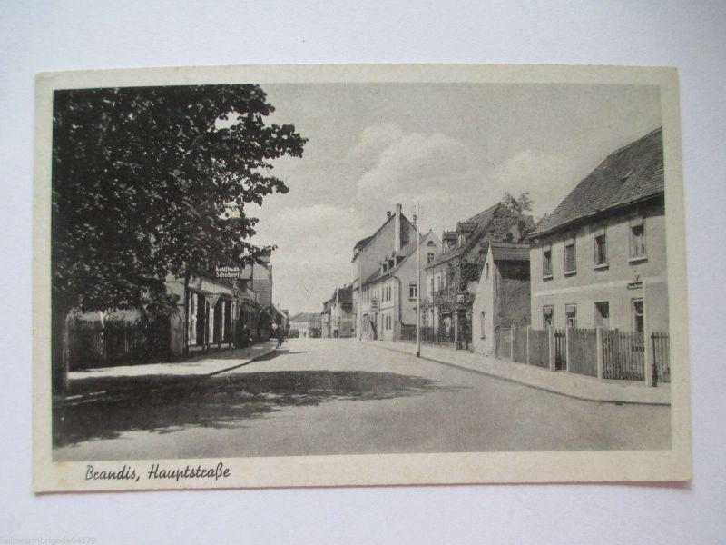 Seltene alte AK Brandis Sachsen Hauptstraße ungelaufen beschrieben 1948