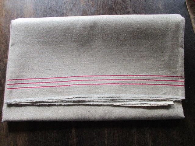 Altes Leinen Rolltuch Mangeltuch 3 rote Streifen neuwertig ca. 300 x 90 cm
