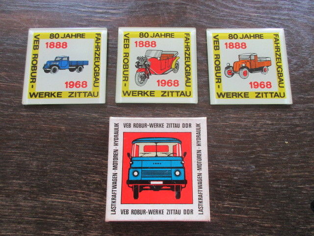 80 Jahre Robur Werke Zittau Fahrzeugbau 1888- 1968 Werbung 3 Glasplatten
