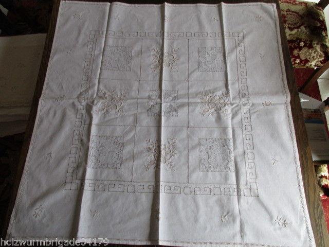 Herrliche alte Tischdecke Mitteldecke Leinen Hohlsaum Stickerei Handarbeit