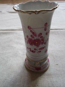 Meissen Vase Fussvase Indisch Purpur 2. Wahl 14,5 cm