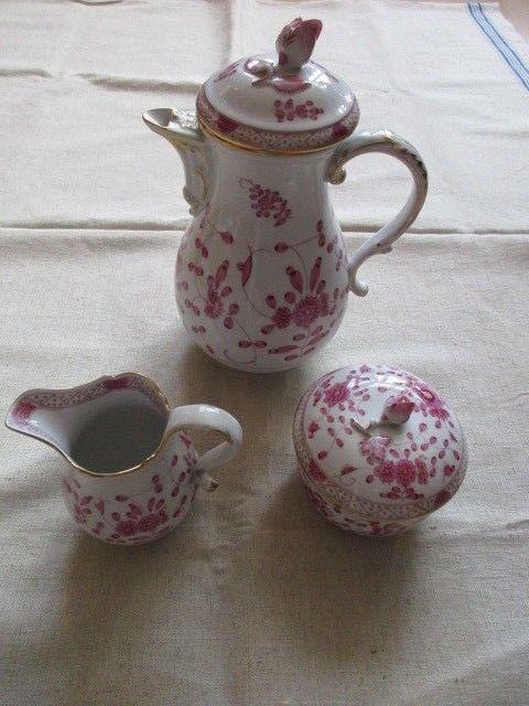 Meissen Kernstück Kaffeekanne Zuckerdose Sahnekännchen Indisch Purpur 1. Wahl 1