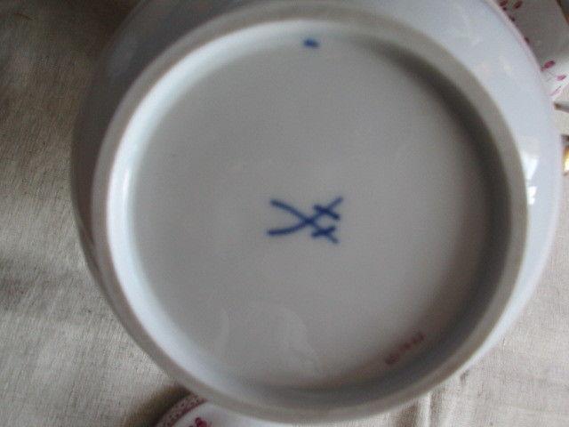 Meissen Kernstück Kaffeekanne Zuckerdose Sahnekännchen Indisch Purpur 1. Wahl 11