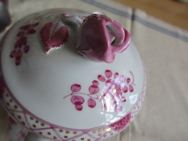 Meissen Kernstück Kaffeekanne Zuckerdose Sahnekännchen Indisch Purpur 1. Wahl 5