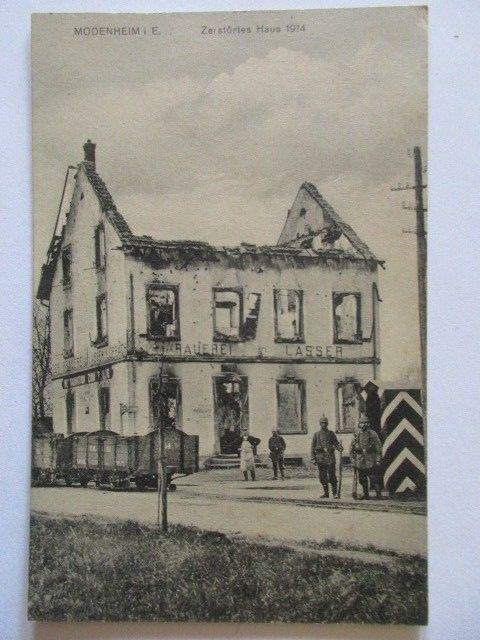 Ak Modenheim Elsass zerstörtes Haus Brauerei Lasser Restauration zum Pflug 1914