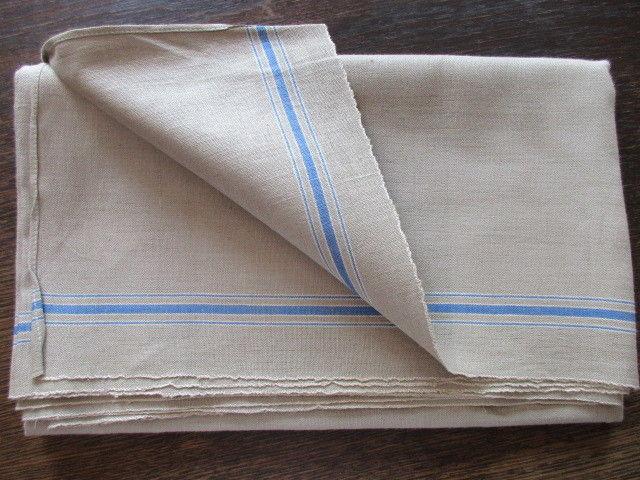 Altes Leinen Rolltuch Mangeltuch blaue Streifen unbenutzt 290 x 90 cm (2)