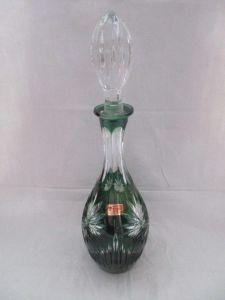 Lausitz Glas seltene alte Bleikristall Likör Karaffe grüner Überfangglas TOP