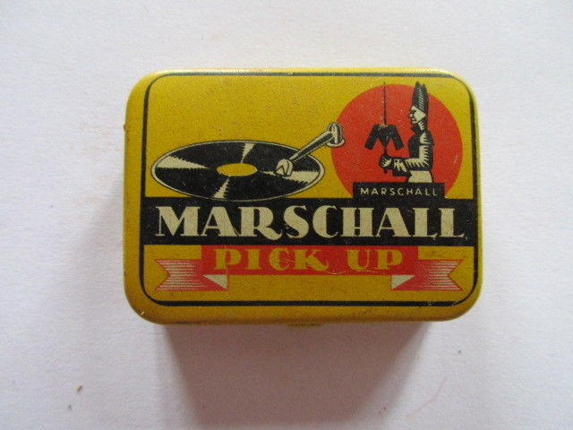 Seltene alte Grammophon Nadeln Marschall Pick Up Needles Original Dose