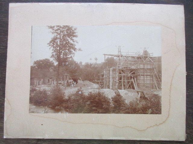 Altes Foto Ołdrzychów Ullersdorf Queis Schlesien Bau Eisenbahnbrücke 1908-1908-2