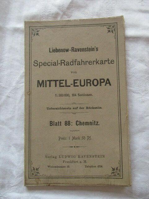 Special Radfahrerkarte Mitteleuropa Blatt 88 Chemnitz Liebenow Ravenstein u 1910 0