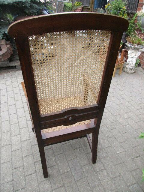 Alter Stuhl Armlehnstuhl  Nussbaum Korbgeflecht Gründerzeit um 1890 6