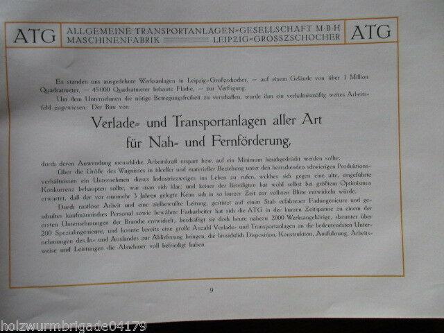 Transportanlagen Gesellschaft ATG Maschinenfabrik Leipzig Großzschocher 1922 ! 2