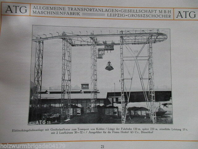 Transportanlagen Gesellschaft ATG Maschinenfabrik Leipzig Großzschocher 1922 ! 7