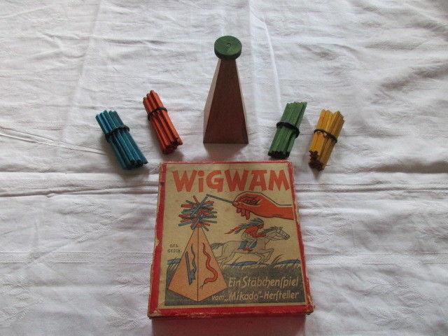Seltenes WIGWAM Stäbchenspiel Geduldsspiel Mikado um 1930