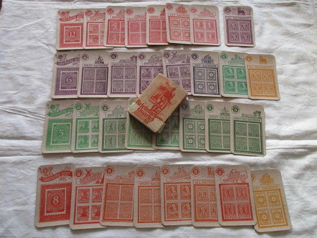 Seltenes altes Briefmarken Quartett Re- Le Spiele um 1950