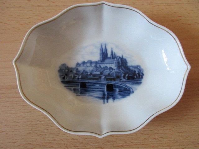 Meissen seltene Porzellan Schale Motiv Meissen Albrechtsburg 1. Wahl 15,5 x 12