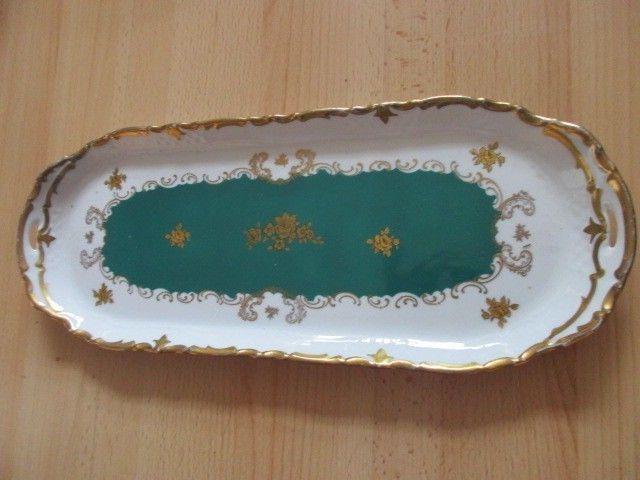 Reichenbach Barock Kuchenplatte Kuchenteller smaragd grün gold Rose 38,5 x 15 cm
