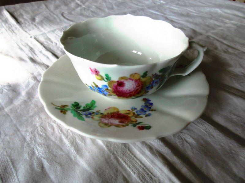 Meissen Kaffee Tee Gedeck Tasse Teller Blume 2. Wahl  (3)