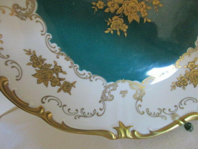 Reichenbach wunderschöner alter Prunkteller Schale grün Ø 27 cm 2