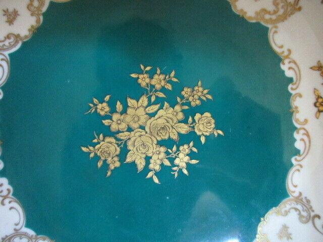 Reichenbach wunderschöner alter Prunkteller Schale grün Ø 27 cm 3
