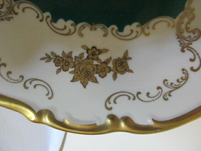Reichenbach wunderschöner alter Prunkteller Schale grün Ø 27 cm 4