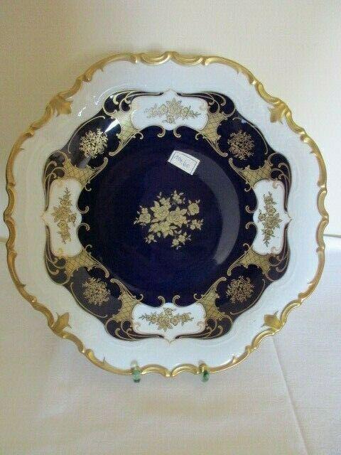 Reichenbach wunderschöner alter Prunkteller Schale Echt Kobalt Ø 32,5 cm Vitrine 1
