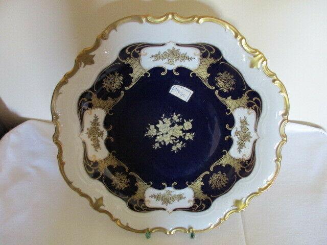 Reichenbach wunderschöner alter Prunkteller Schale Echt Kobalt Ø 32,5 cm Vitrine 2