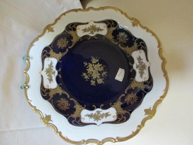 Reichenbach wunderschöner alter Prunkteller Schale Echt Kobalt Ø 32,5 cm Vitrine 3