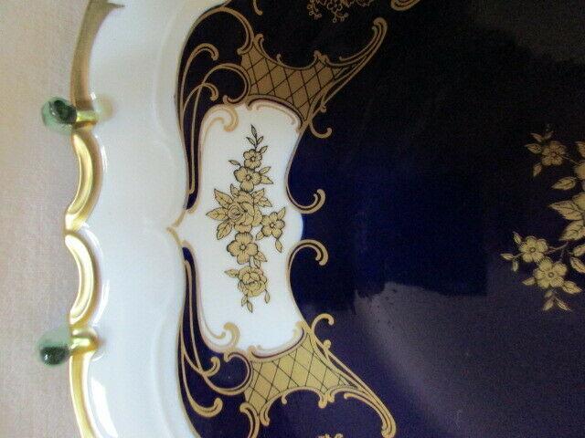 Reichenbach wunderschöner alter Prunkteller Schale Echt Kobalt Ø 32,5 cm Vitrine 4